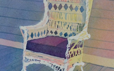 Wicker Chair on Porch