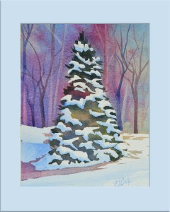 """""""First Snow"""" Evergreen tree with snow and background of trees is the focus for this original watercolor by PJ Cook."""