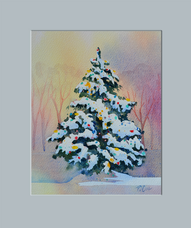 Christmas tree painting p j cook artist studio Christmas card scenes to paint