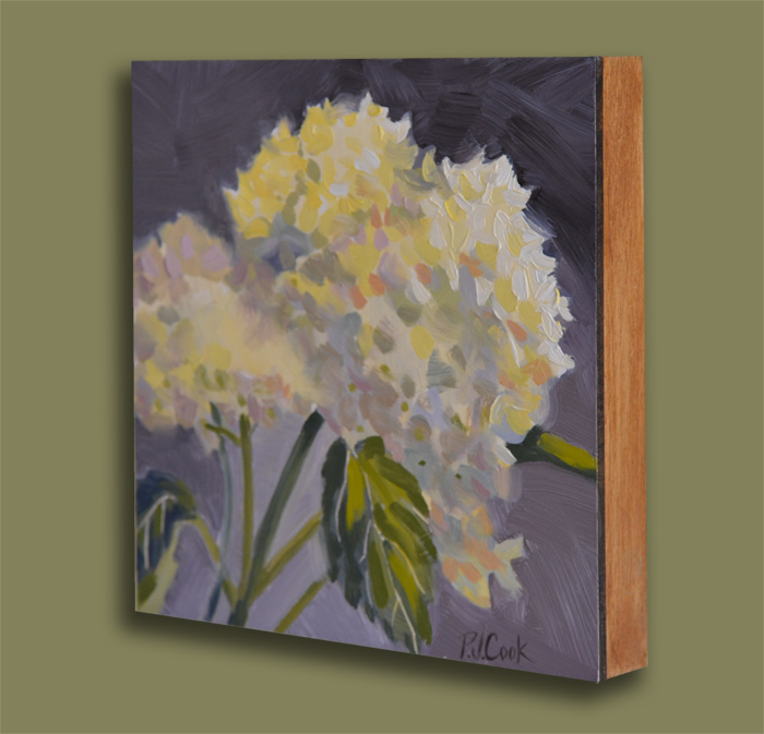 6x6 oil on gessoboard hydrangea flowers by artist PJ Cook.