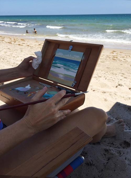 ocean waves, plein air, fort Lauderdale, florida