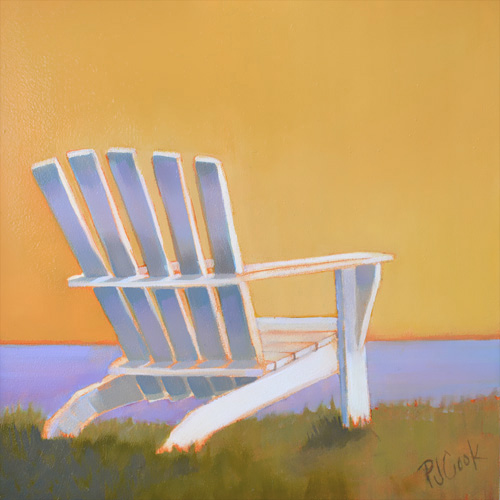 sunset glow from adirondack chair overlooking water art by PJ Cook.