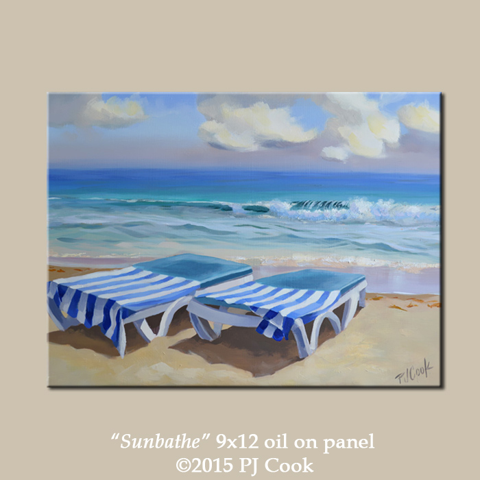 ocean waves beach chairs and towels are featured in this oil painting