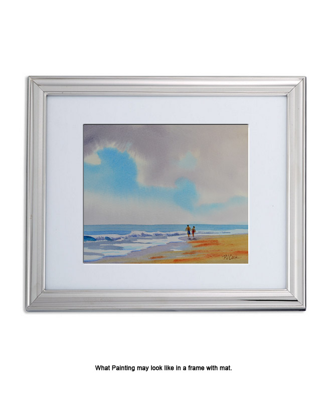 beach scene, waves, sand, sky and couple walking on the beach