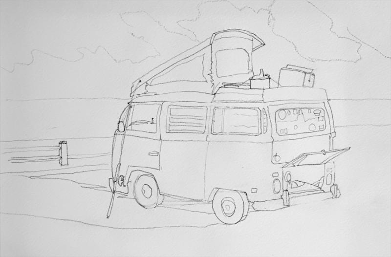 Old VW camper van parked at beach, fishing rod, beach, ocean waves pencil drawing