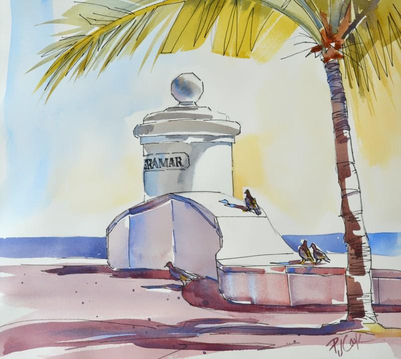 fort lauderdale beach entrance terramar, pigeons, palm trees, ocean painting