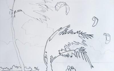 Sketch of Kitesurfing off Ft Lauderdale