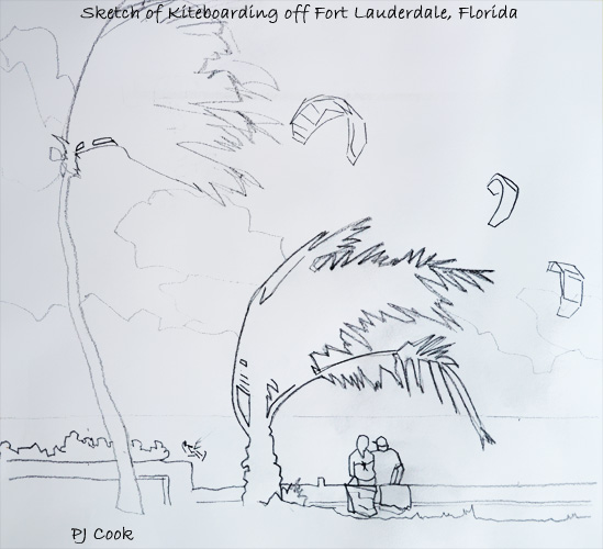 pencil sketch of kiteboarding on a windy day off ft lauderdale beach in Florida by PJ Cook artist.