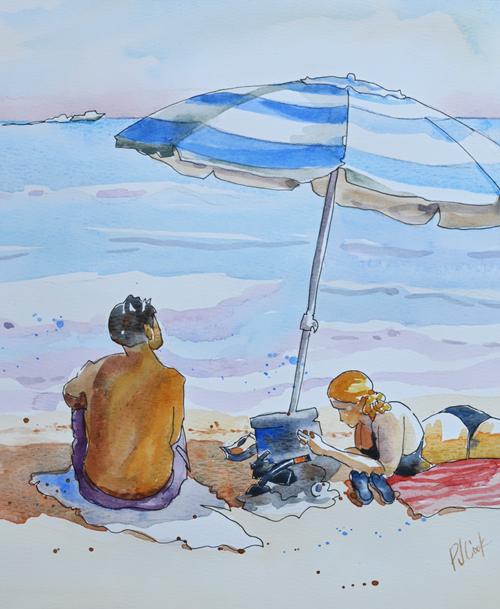beach blanket day watercolor painting by PJ Cook