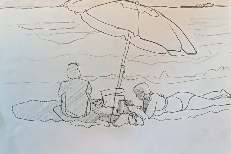 A Beach Blanket Day Pencil Sketch