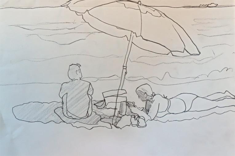 A Beach Blanket Day Pencil Sketch
