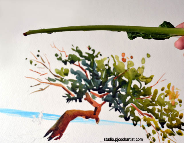 how to use a stalk of kale for a paintbrush