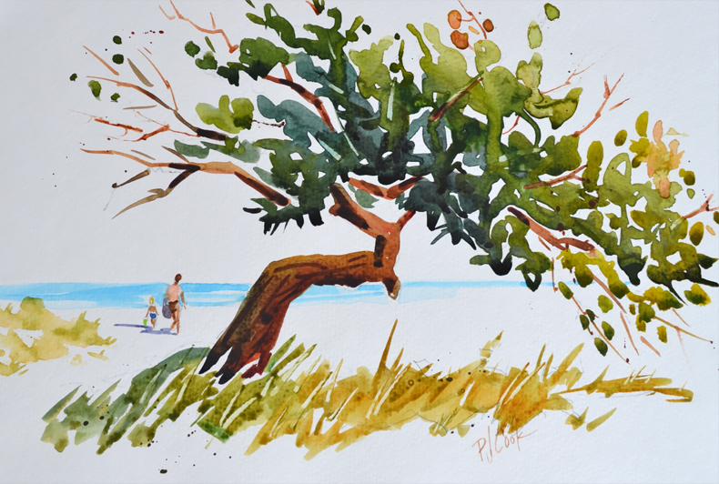 ocean view delight original watercolor with people walking to the beach