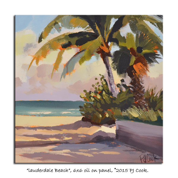 6 x 6 oil on panel, original painting lauderdale beach PJ Cook