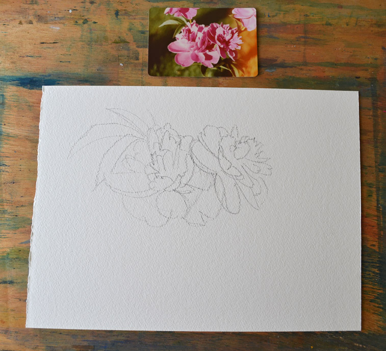 watercolor tutoral of pink floral