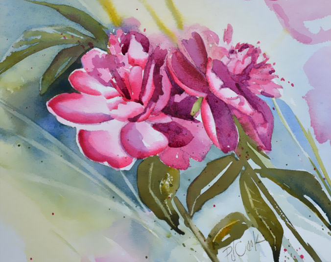 pink floral peonies watercolor floral painting