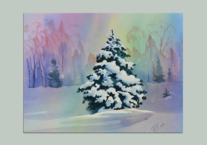 snow scene landscape snow-laden evergreen tree at the edge of the woods original watercolor PJ Cook