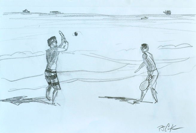 paddle tennis sketch done at the beach