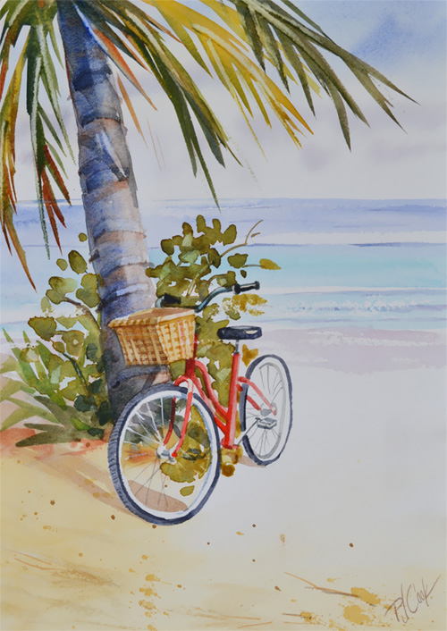 red bicycle at the beach watercolor painting