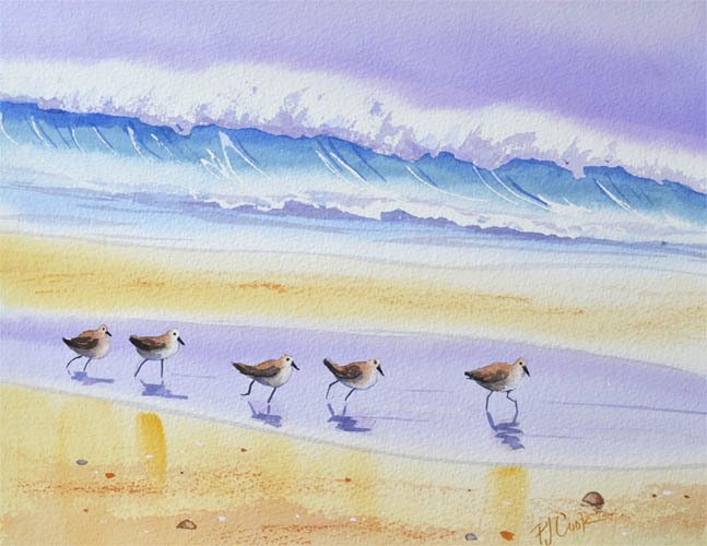 sandpiper birds watercolor with ocean wave and sand beach