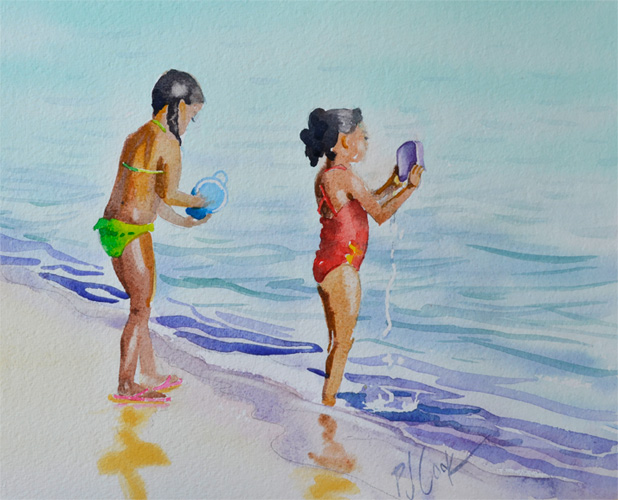 watercolor of 2 girls playing at the beach PJ Cook