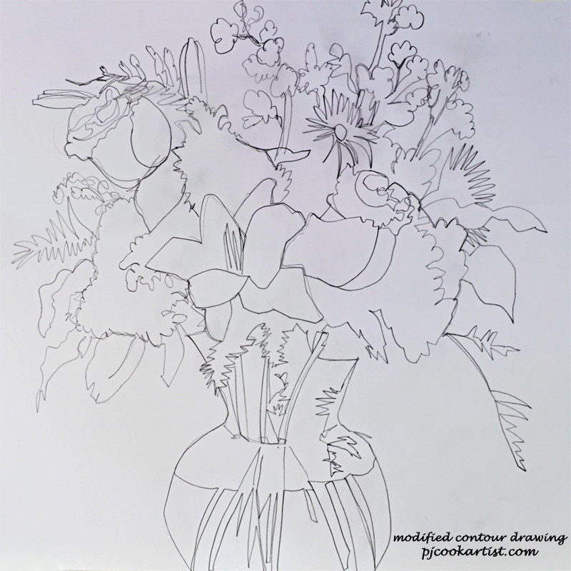 floral work in progess sketch done in a modified contour drawing