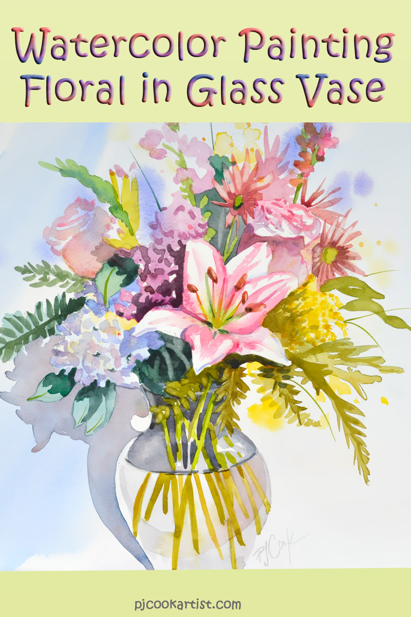 99 Cent Auction On Now Floral Watercolor Bouquet In Clear Glass Vase