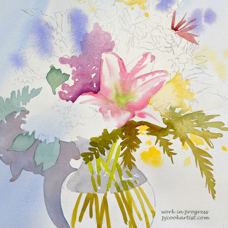 work in progress floral bouquet watercolor painting
