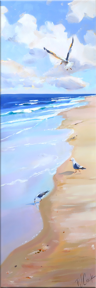 Beach Scape with seagulls 10 x 30 oil on canvas original painting by PJ Cook.