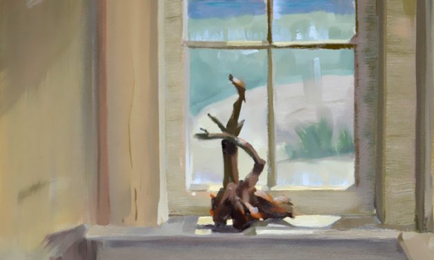 New Oil Painting Interior Window View