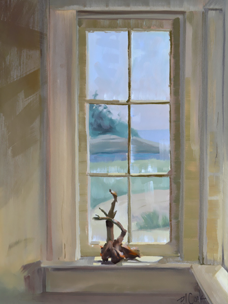 "driftwood on display on a window sill with an ocean view in the background, oil on panel, 16"" x 12"" original painting by PJ Cook."