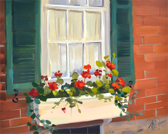 Red Geraniums 8x10 oil on panel