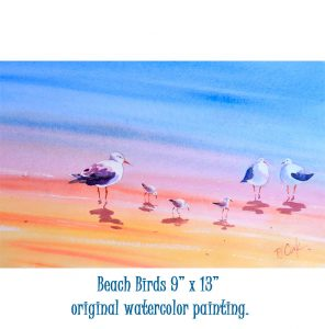 Beach birds 9x13 watercolor painting