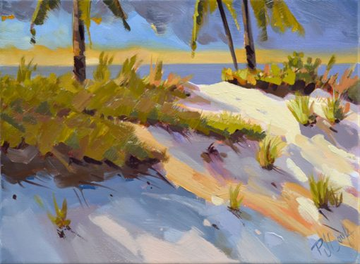 dramatic light beach dune energy oil on canvas painting 9x12