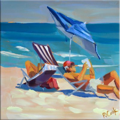 Beach Day Reading 6x6 oil on panel, original painting.