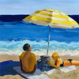 Beach Vibes, 8x8 oil on panel original painting.