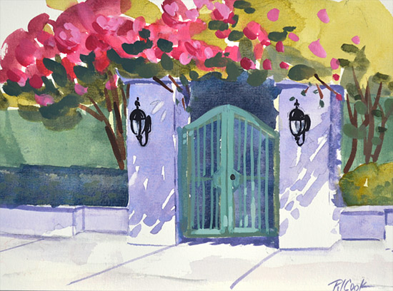 Pink flowers and pretty gate, gouache painting