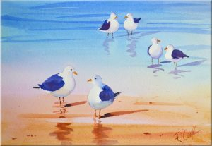 Beach Birds 7x10 watercolor painting