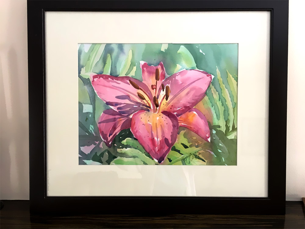contest giveaway of this pink lily flower watercolor painting.