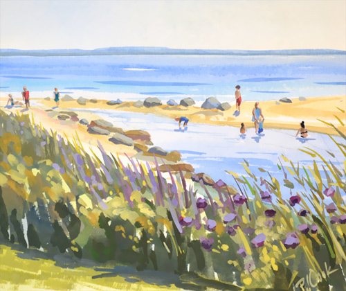 Harkness Park Beach, Waterford, CT original gouache painting, 8x10 ©2017 PJ Cook.