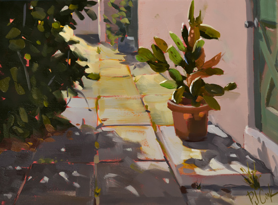 Morning Cactus, 9 x 12 oil on canvas, PJ Cook.