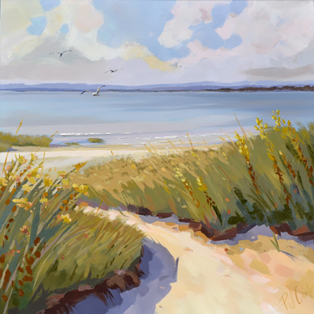 """Dune Escape, salt marsh view with seagulls oil painting, 30"""" x 30"""" oil on canvas."""