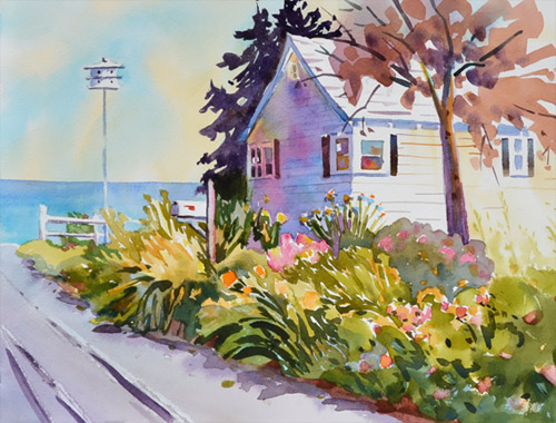 Garden Splendor, 10 x 13 watercolor, flowers with an ocean view.