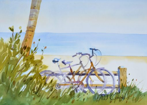 A Little R and R, beach and bicycles watercolor painting, 9.5 x 13 inch.