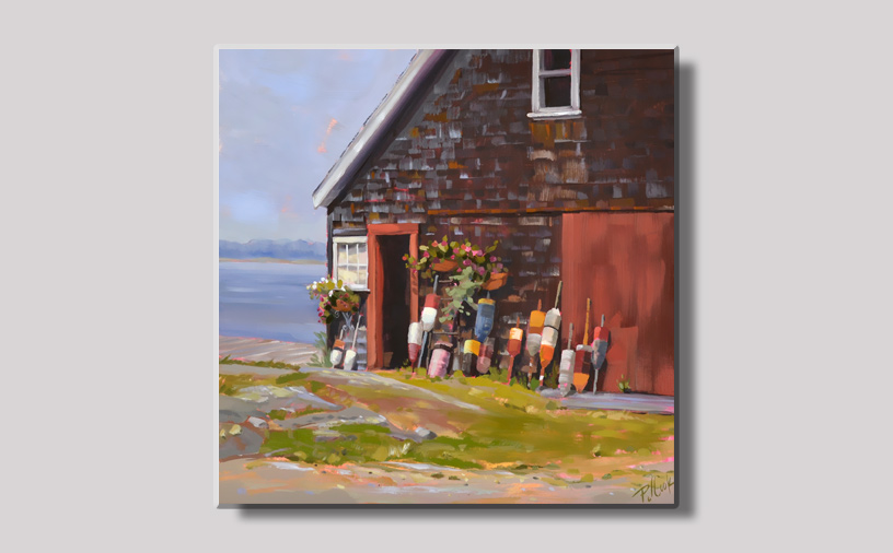 Seaside Maine Barn with Lobster Buoys Display