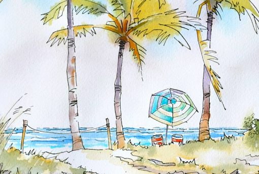 Afternoon Lull Fort Lauderdale Beach, watercolor with pen and ink 10 x 12