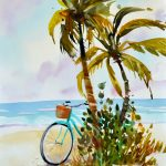 Aqua Afternoon with Palms and Beach Cruiser