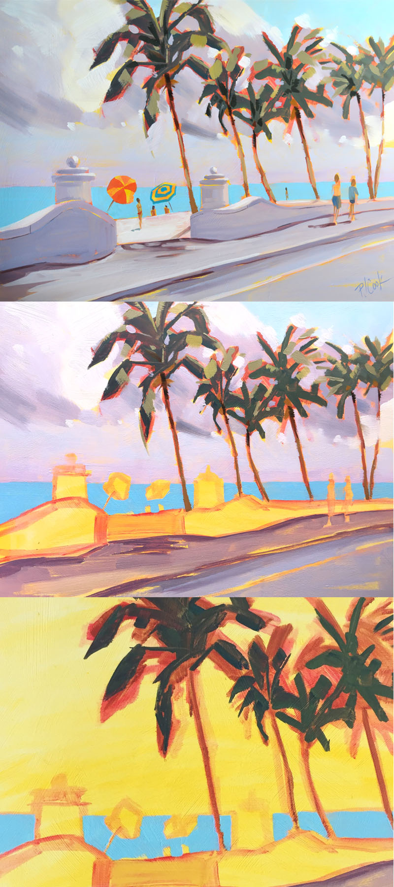 Different stages of oil painting of a Ft Lauderdale beach.