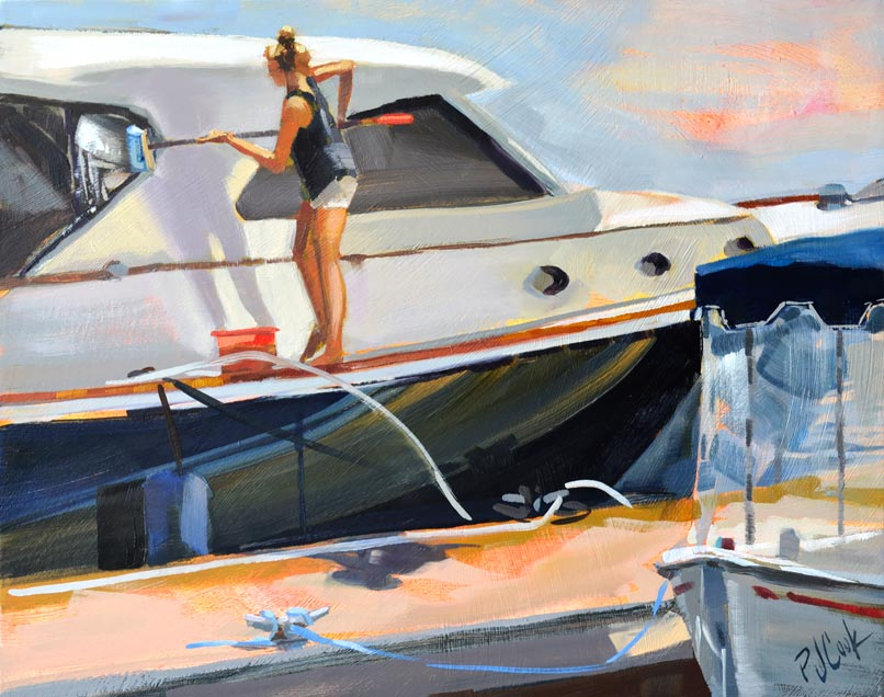 All In a Day's Work, 8x10 oil on board marine art by PJ Cook.