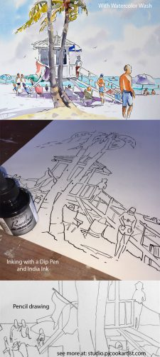 How to paint a beach scene with different stages of watercolor with ink drawing tutorial by PJ Cook.